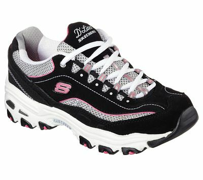 skechers black and pink shoes