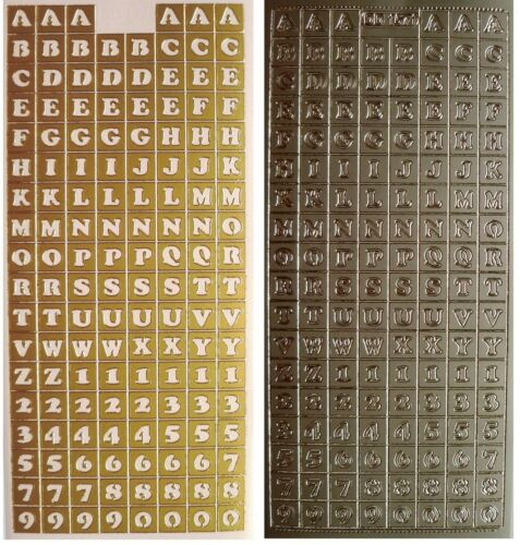BLOCK LETTERS Peel off Stickers 10mm Alphabet /& Numbers 1cm Tall Gold or Silver
