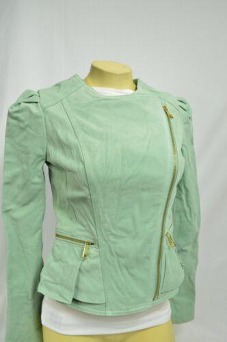 BEBE Jacket COAT zip up peplum beige 229450 suede light mint green