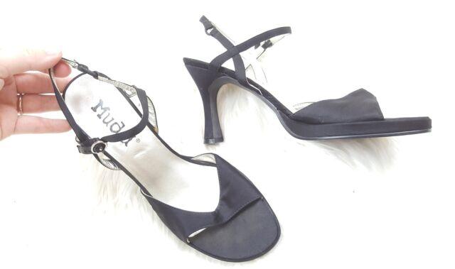 Mudd Womens Size 6.5 M 6 1/2 Solid Black Kitten High Heels Open Toe Strap Back