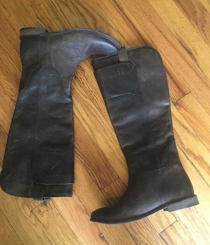 New  388 Frye Paige Tall Riding Boot -  6.5  - Slate Antique Pull Up