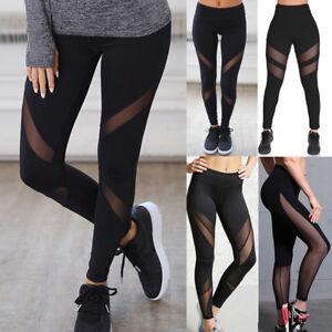 Women/'s Mesh Panels Workout Sports Gym Yoga Compression Leggings Long 3//4 Pants