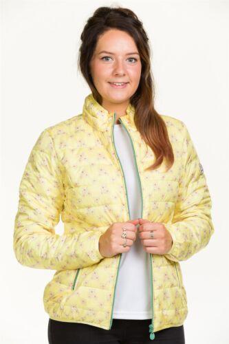 Donna Giacca Imbottita giù Piuma fodera leggera blu giallo floreale zip Cappotto