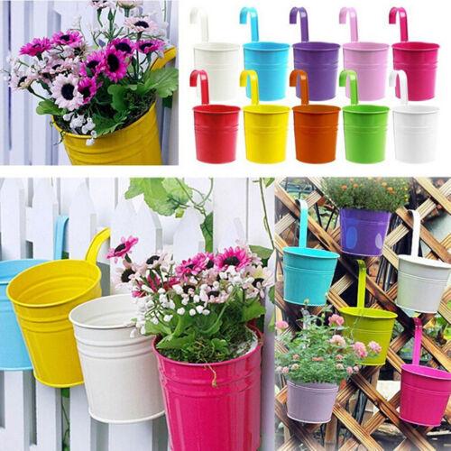 1~10X Metal Flower Pots Wall Hanging Tin Baskets Bucket Plant Herb PlanUL