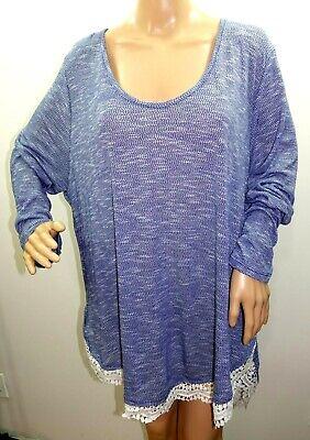 Bongo Jr Women Plus Size 2x 3x Aztec Melange Hi Lo Sweater Tunic Top Blouse