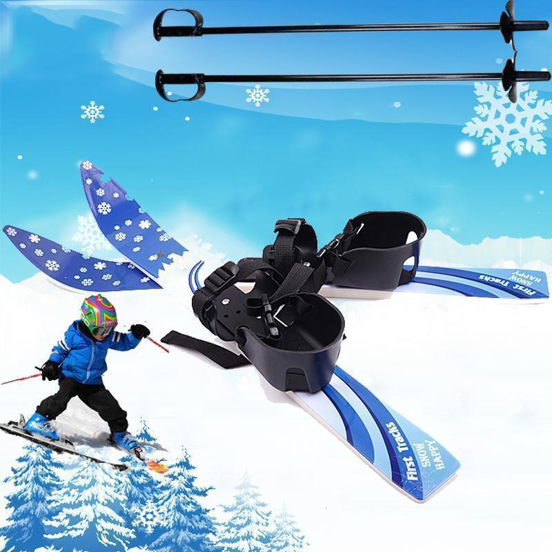 Kid's Beginner Snow Skis Poles Board Bindings Skiblades Snowboard