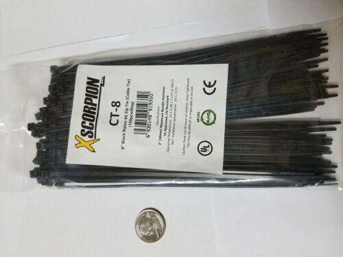 """25 Pack 8/"""" Black Zip Ties//Cable Ties Heavy Duty Nylon UV Resistant UL Scorpion"""