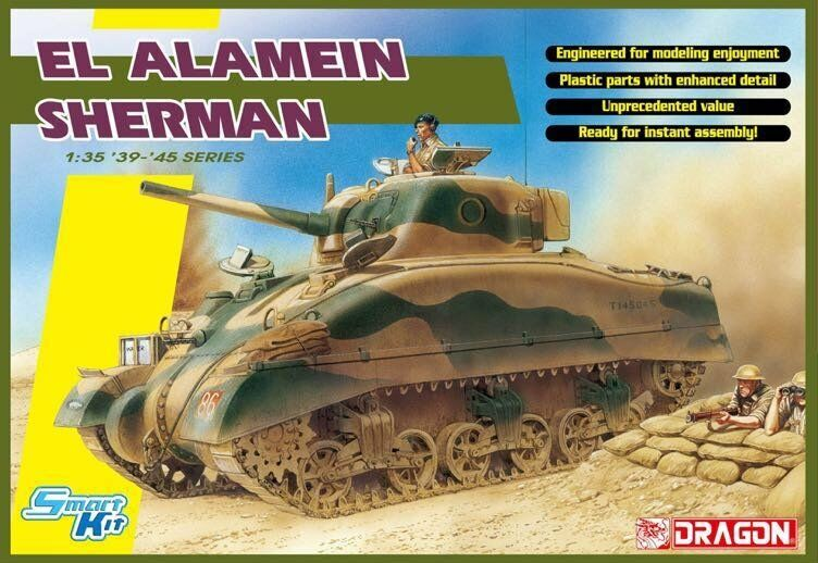 Dragon 6617 1 35 British EL Alamein Sherman Medium Tank Model Kit +Metal Cannon