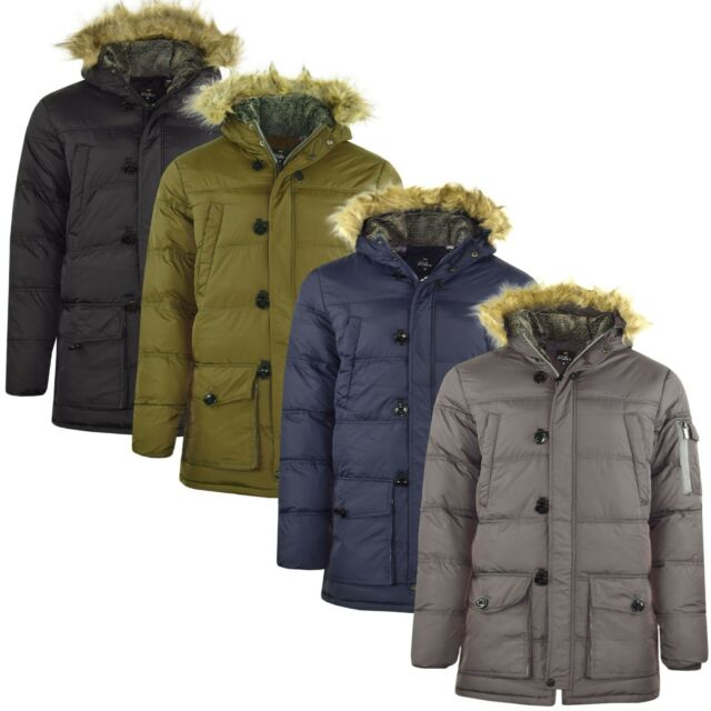615f656c0 MENS PARKA PARKER PADDED LINED WINTER JACKET FAUX FUR HOODED COAT NEW S-2XL  4CLR