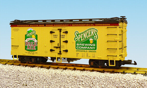 USA Trains G Scale U.S. REEFER CAR R16399 Spencer's McKenzie Pale Ale yell blk