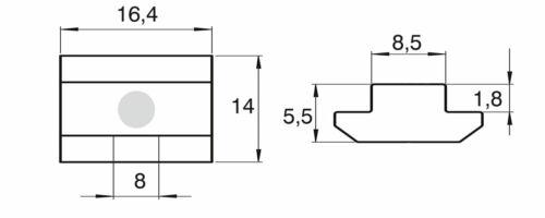 100 St f Nut 8,5 mm Lagerauflösung S160 16 x 14 mm Nutenstein Gewinde M8