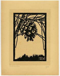 16 Antique Prints-BOOKPLATE-EX LIBRIS-WOODCUT-MODERN-ZEELAND-Kasteel-1938-1942