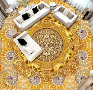 3D golden flower 7968 Floor WallPaper Murals Wall Print Decal 5D AJ WALLPAPER