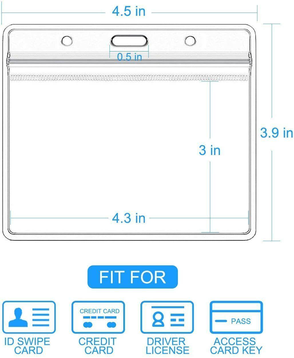 10 Pack ID Card Protector Work Badge Holder Clear Vinyl Waterproof 4.3x3 in