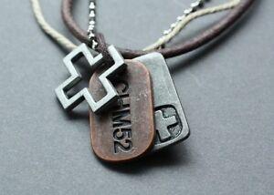 NEW-Leather-Mens-Hemp-Metal-Surfer-Necklace-Choker
