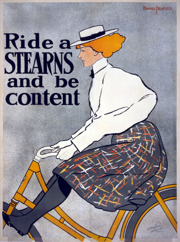 5838.Ride Stearns bicycle ad POSTER.Girl Bike.Room Interior design.Decor Art