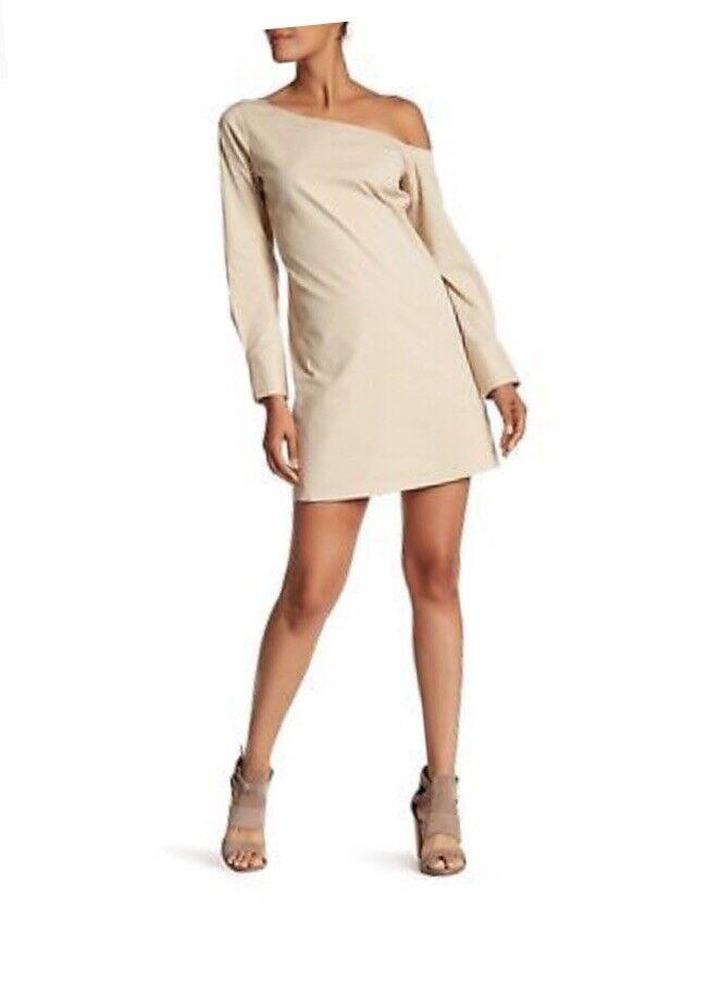 Theory Ulrika B Stretch Cotton classic khaki One Shoulder  Shift Dress SZ 4