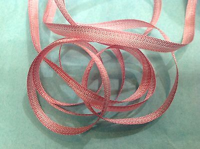VINTAGE Antique EMBROIDERY FLOWER RIBBON OMBRE RIBBONWORK 1 yd Made in France