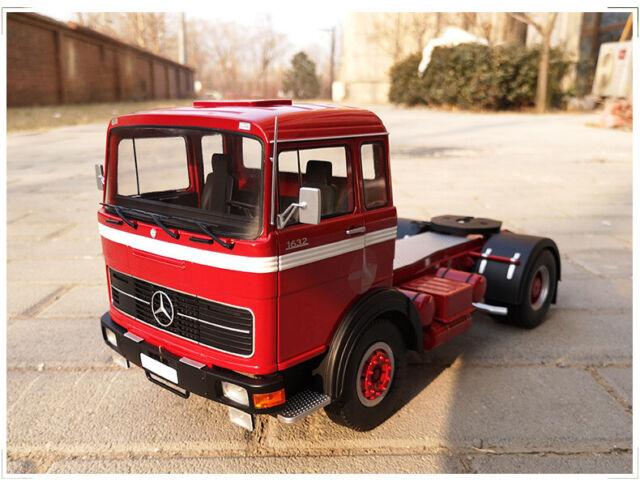 Red// Black Camion Truck 1:18 Model KK SCALE Mercedes LPS 1632 1969 Grey