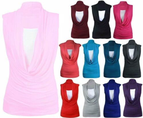 Ladies Womens Sleeveless Cowl Neck Plain Vest Top Novelty Casual Long Top