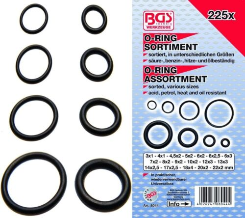 BGS 8044 O-ring Assortiment Ø 3-22 mm 225 pièces