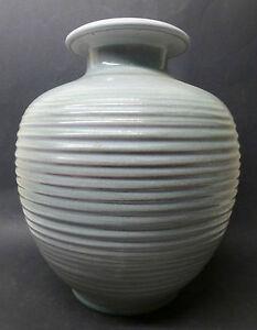 60-70-er-Jahre-Vase-KeramikKarlsruher-Majoli-Rillendekor-Marhta-Katzer