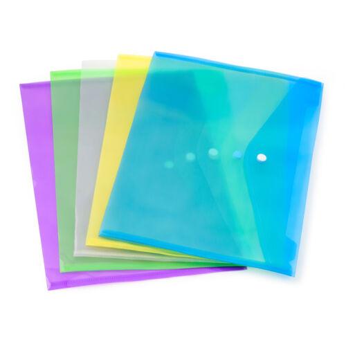 A4 Plastic wallets Stud Document Wallet Files Folders Filing School Office 5 PK
