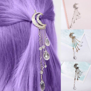 Retro-Hair-Clip-Moon-Rhinestone-Tassel-Beads-Hairpin-Women-Jewelry-Clever