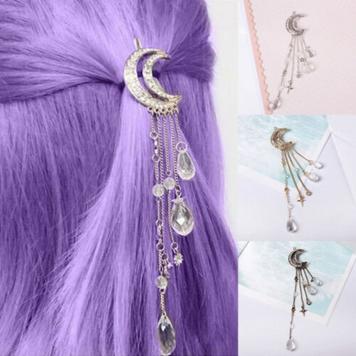 QA/_ Retro Hair Clip Moon Rhinestone Tassel Beads Hairpin Women Jewelry Clever