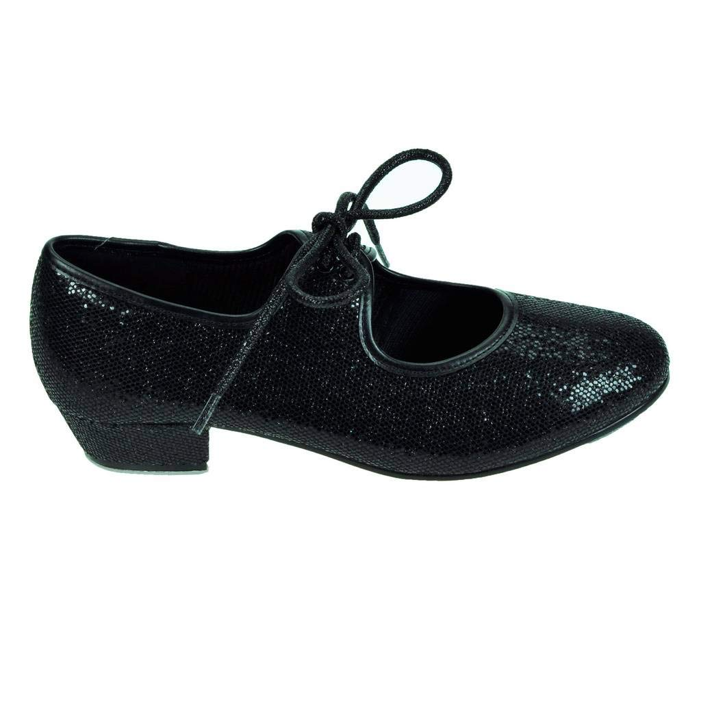 Black hologram Starlite Maisie low heel tap shoes -with heel and toe taps