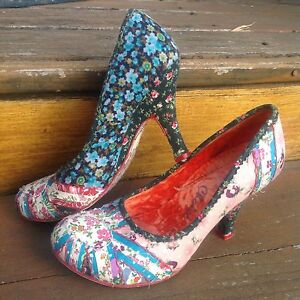 Irregular Choice Pink Blue Floral Pumps Heels 7 EUR 37 Heart Patch Funky Shoes