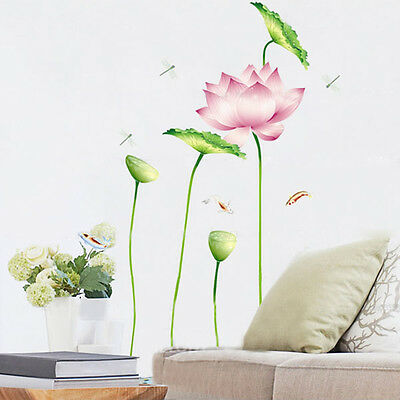 DIY Lotus Flower Leaf Dragonfly Fish Free Removable Vinyl Wall Stickers Home Art
