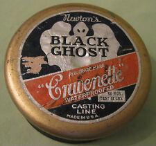 Vintage 1940s Newton's Black Ghost Casting Line, Cravenette Unused Wooden Spool