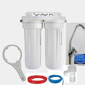 Under Sink Water Filter 2 Stage Sediment Filter Carbon Filter Euro Faucet
