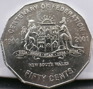 2001-Australian-50c-coin-Centenary-of-Federation-New-South-Wales-free-post-Aust