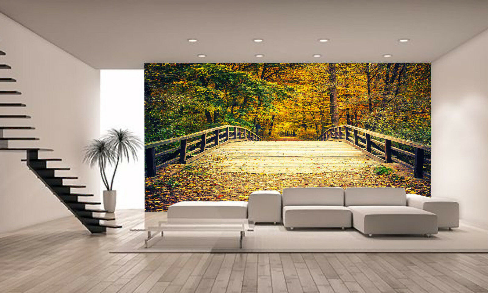 Bridge in Autumn Forest Wall Mural Photo Wallpaper GIANT DECOR Paper Poster