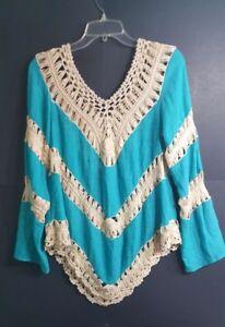 Umgee-WomenTeal-Blue-Long-Sleeve-Crochet-Knit-Top-Blouse-Sz-Small-Boho-Festival