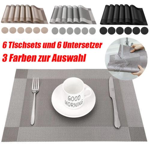 6PZ Tischsets Abwaschbar Platzdecke Tischmatte Tischdecken Tischset Tischläufer