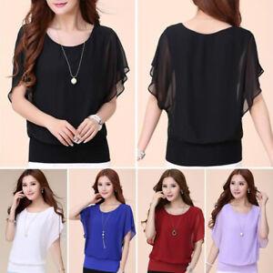 41bff527b7d9 Fashion Womens Summer Loose T Shirt Short Sleeve Chiffon Tops Shirt ...