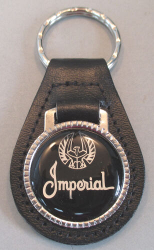 Vintage Black//Silver Chrysler IMPERIAL Leather USA Keyring Key Fob Key Holder