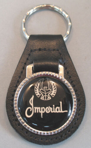 Vintage Black//Silver Chrysler IMPERIAL Leather USA Keyring Key Fob Key Holder
