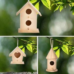 Wooden Bird House Nesting Box Wall Mounted Hanging Gardening Decor NICE