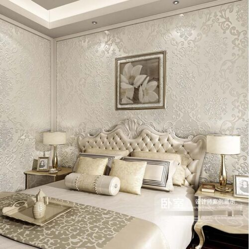Luxury 3D Damascus European Style Pearl Powder Non-woven Wallpaper Cream 5.3㎡
