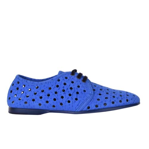 schoenen 05917 Suede Derby DolceGabbana schoenen geperforeerde blauw Amalfi blauwe nOwX80Pk