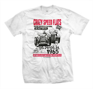 T-Shirt-Carzy-Speed-Flats-Hot-Rat-Rod-Flathead-V8-Rockabilly-Dust-Race-weiss