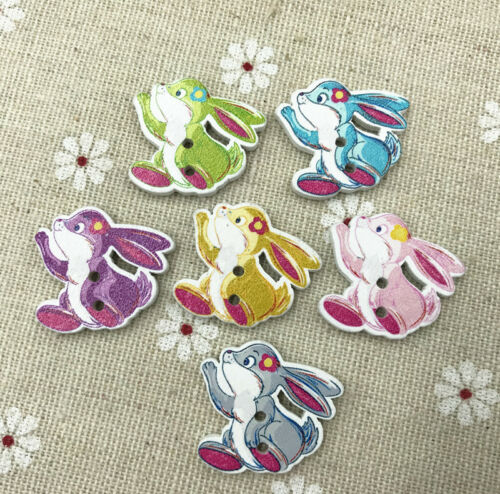 Wooden Flower rabbit buttons Mix-color Fit Sewing decoration Scrapbooking  24mm