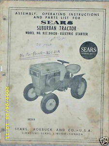 Details about 917 99420 Sears Suburban Tractor Manual & List on CD