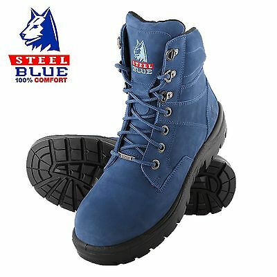 Steel Blue Mens BLUE SOUTHERN CROSS SAFETY BOOTS [MULTIPLE SIZES] blue boots
