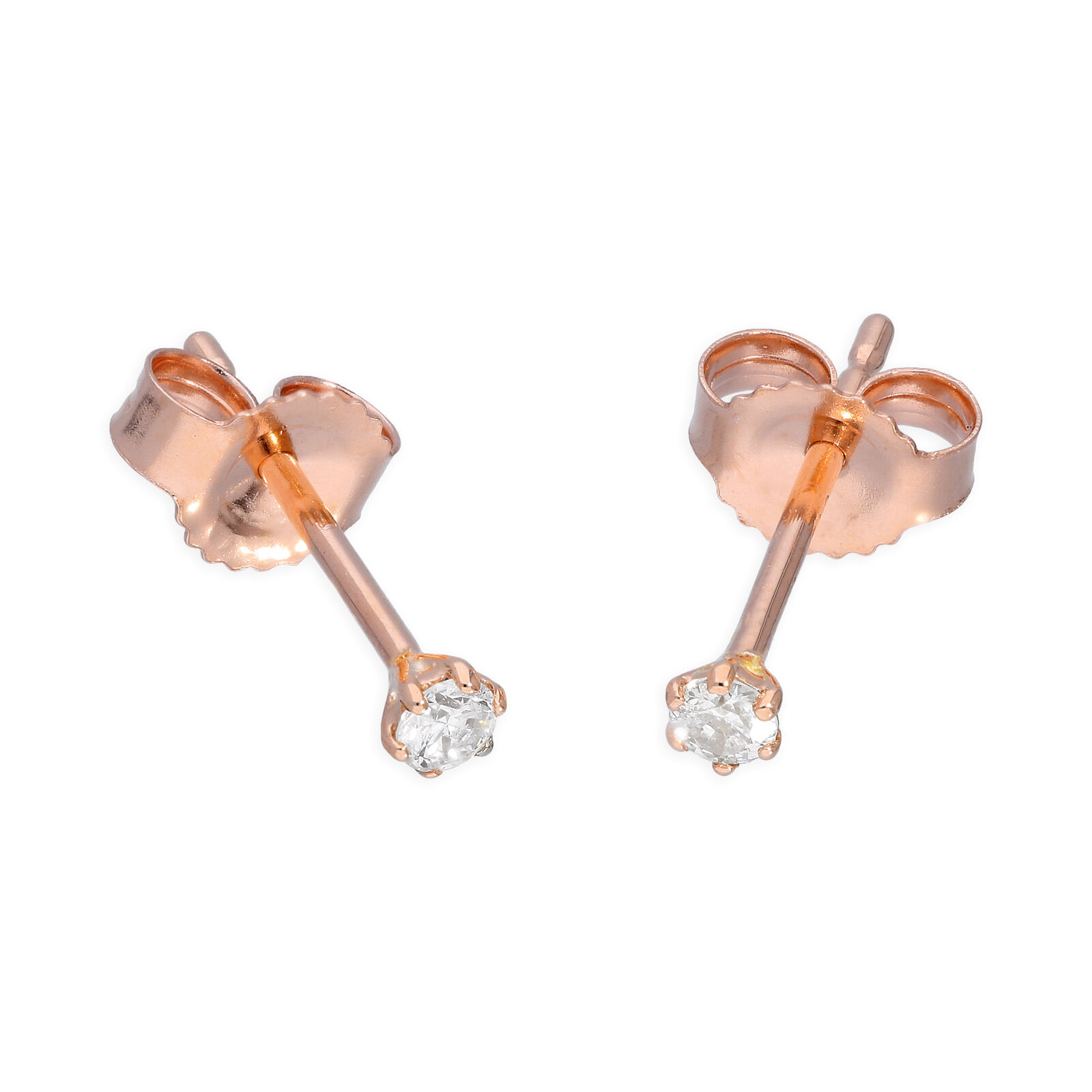 9ct pink gold 0.09ct Diamond 6 Claw Set Round Solitaire Stud Earrings