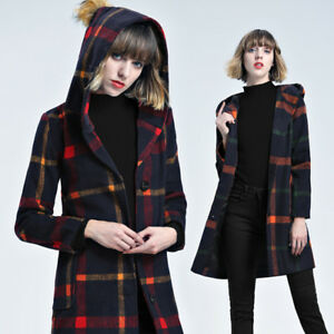 Manteau Manteau Long sur 1289 Veste Écossais Veste Détails Noir Confortable Vert Femme F1JclK